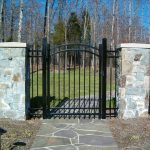 Arched Gate with Rings and Finial Tops